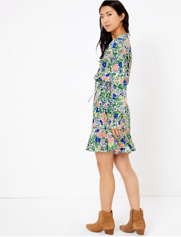 M&S Collection Floral Print Waisted Mini Dress multi back view
