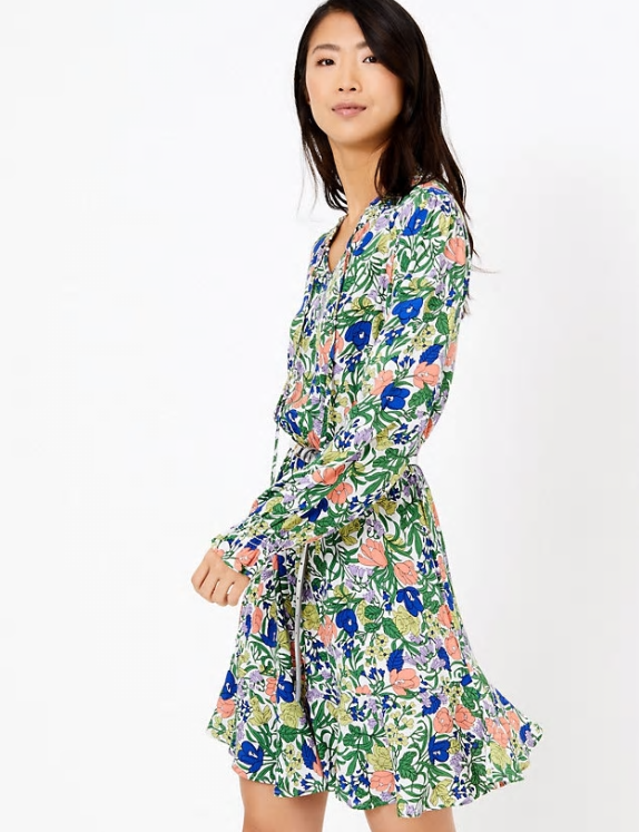 M&S Collection Floral Print Waisted Mini Dress multi