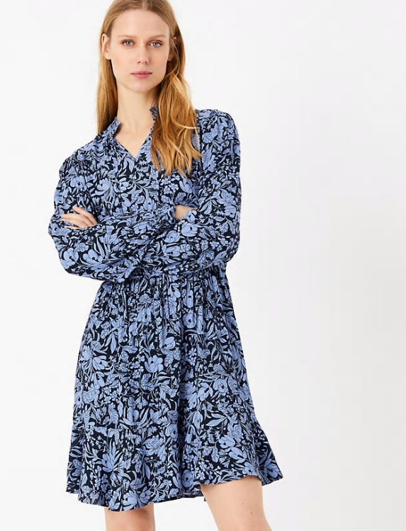 M&S Collection Floral Print Waisted Mini Dress