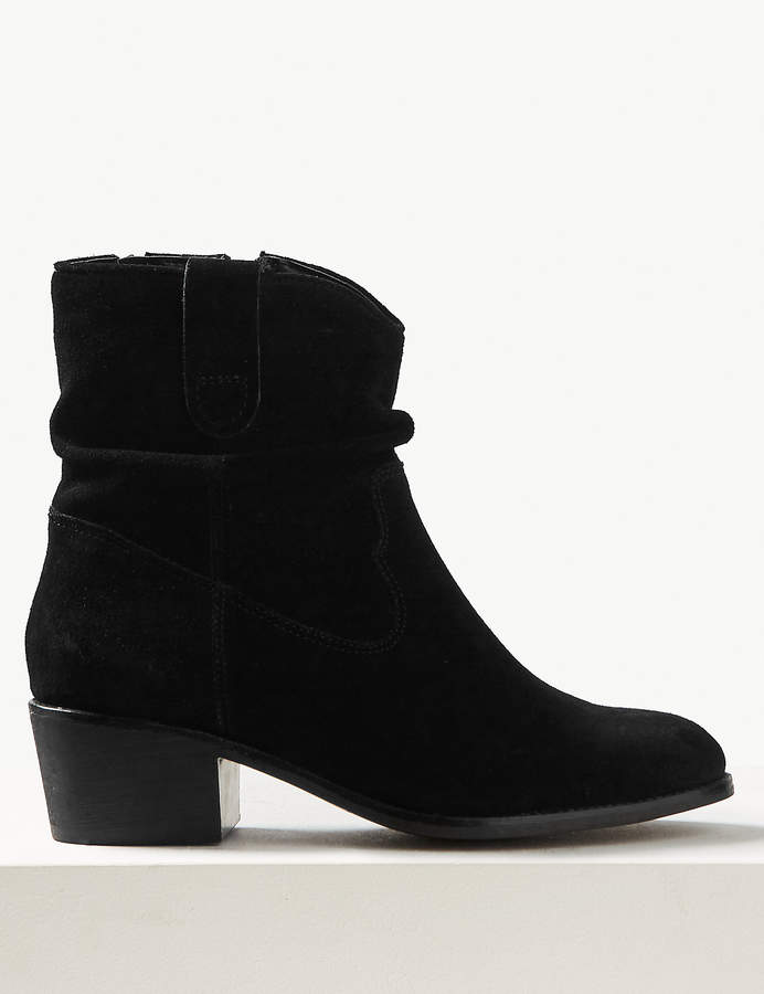M&S Collection Marks and Spencer Suede Slouch Western Block Heel Ankle Boots