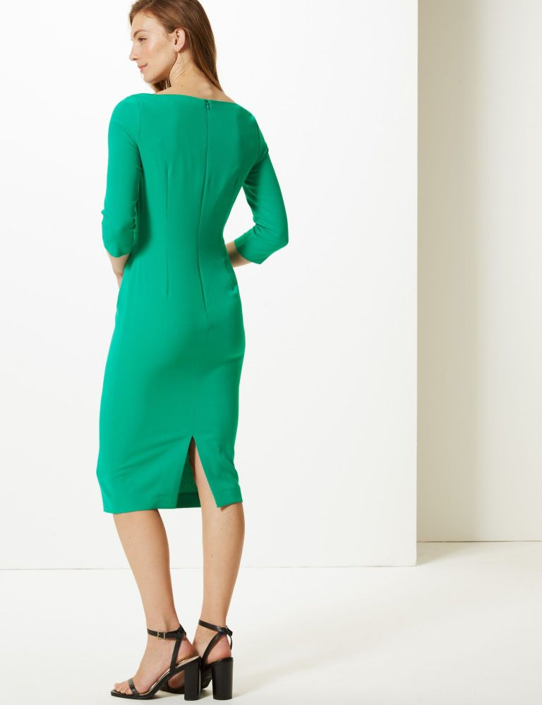 M&S Collection Pleated 3 quarter Sleeve Bodycon Dress back view