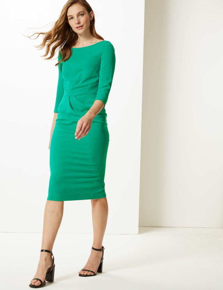 M&S Collection Pleated 3 quarter Sleeve Bodycon Dress