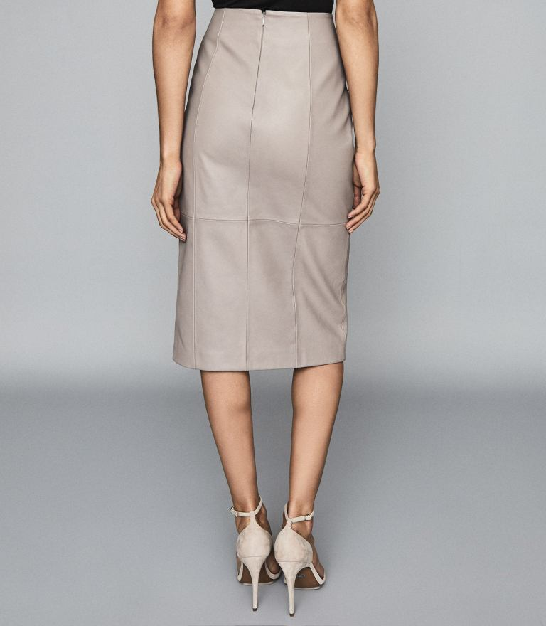 Reiss Grace Leather Pencil Skirt back view
