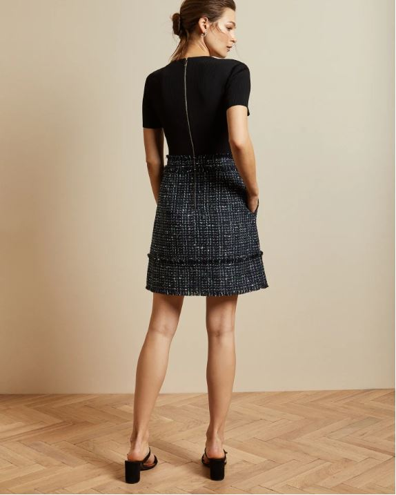 Ted Baker Boucle Short Sleeved Dress back view