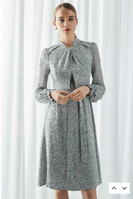 The Fold Haslemere Dress Grey Dotty Viscose