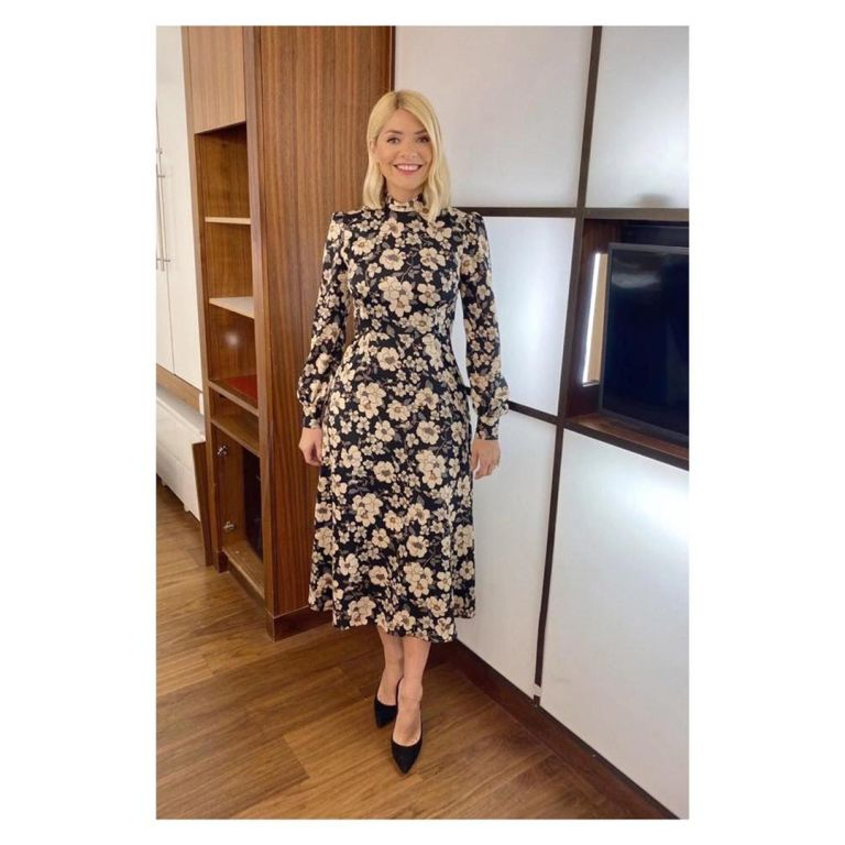 where to get all Holly Willoughby This Morning dresses black floral dress 30 January 2010 Photo Holly Willoughby