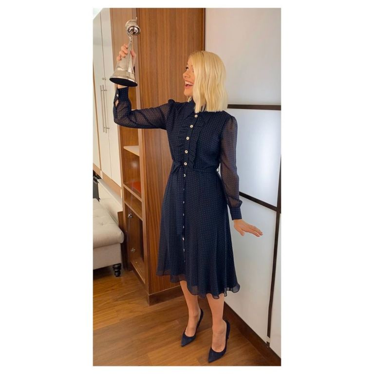 where to get all Holly Willoughby This Morning dresses navy polka dot chiffon dress 29 January 2020 Photo Holly Willoughby