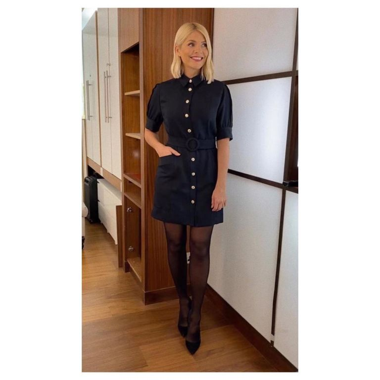 where to get all Holly Willoughby This Morning dresses nsvy button front dress navy court shoes 22 January 2020 Photo Holly Willoughby
