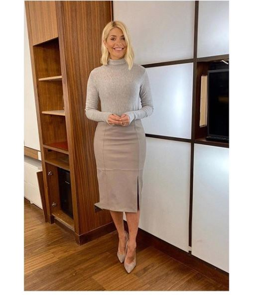 where to get all Holly Willoughby This Morning outfits grey leather pencil skirt grey polo neck grey suede court shoes 9 January 2010 Photo Holly Willoughby