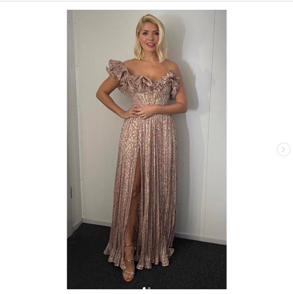where to get holly willoughby dancing on Ice dress pink strapless ruffle dress 26 January 2020m Photo Holly Willoughby