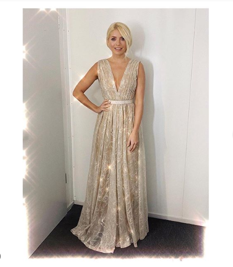 Where to get all Holly Willoughby outfits on  Dancing on Ice January 2020 silver thread plunge gown star earrings