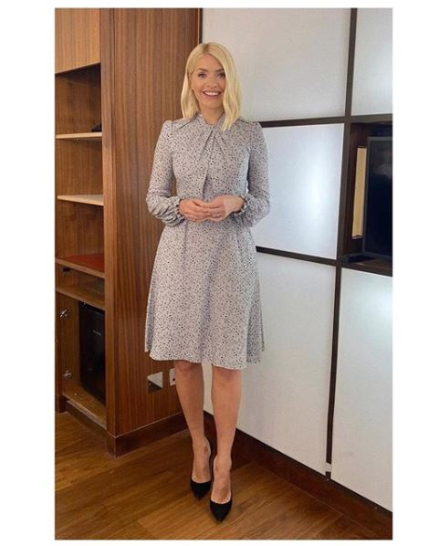 where to get Holly Willoughby grey dotty dress This morning 13 january 2020 Photo Holly Willoughby