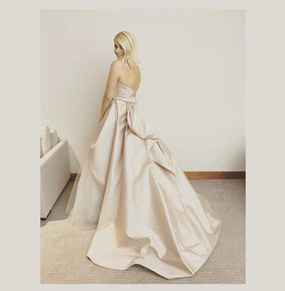 where to get Holly Willoughby NTA 2020 gown pink satin and blue tulle 28 Janiary 2020 Photo Holly Willoughby v2