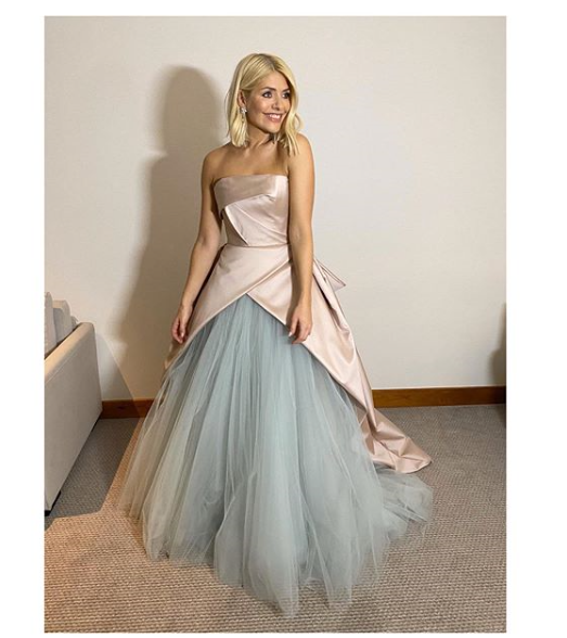 where to get Holly Willoughby NTA 2020 gown pink satin and blue tulle 28 Janiary 2020 Photo Holly Willoughby