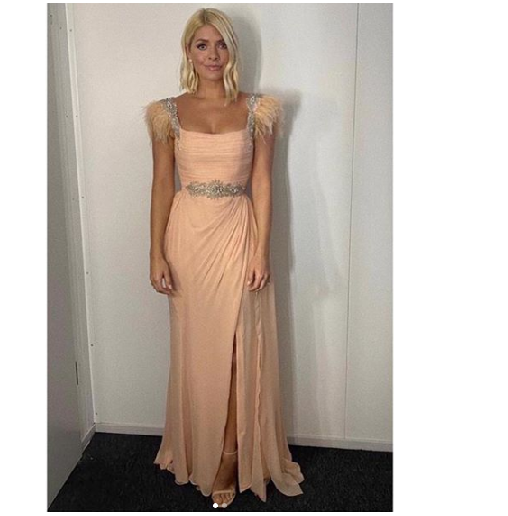 where to get holly willoughby peach and feather gown Dancing on Ice 5 January 2020 photo Holly Willoughby
