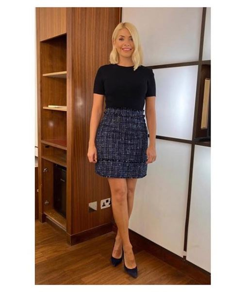 where to get holly willoughby This Morning boucle dress blue and black 14 January 2020 Photo Holly Willoughby
