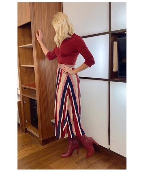 where to get Holly Willoughby This Morning dress rust striped dress claret boots 8 January 2020 Photo Holly Willoughby