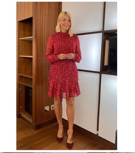 where to get holly Willoughby This Morning dress today burgundy leaf print dress 7 January 2020 Photo Holly willoughby