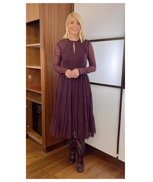 where to get Holly Willoughby This Morning dress today burgundy purple dress red boots 20 January 2020 Photo Holly Willoughby