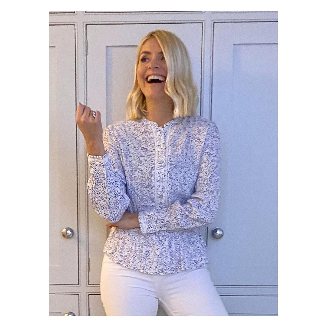 where to get Holy Willoughby white and blue floral top 30 January 2020 Photo Holly Willoughby