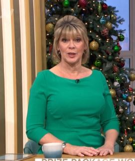 where to get Ruth Langsford green 3 quarter sleeve sheath dress This Morning 3 January 2020 Phot ITV co
