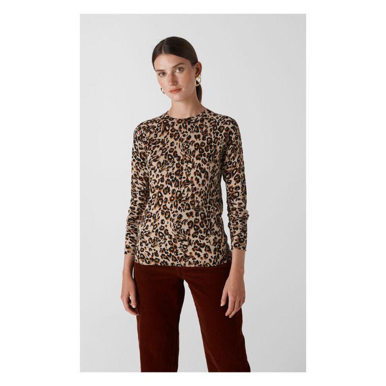 Whistles Leopard Print Crew Neck Knit v2