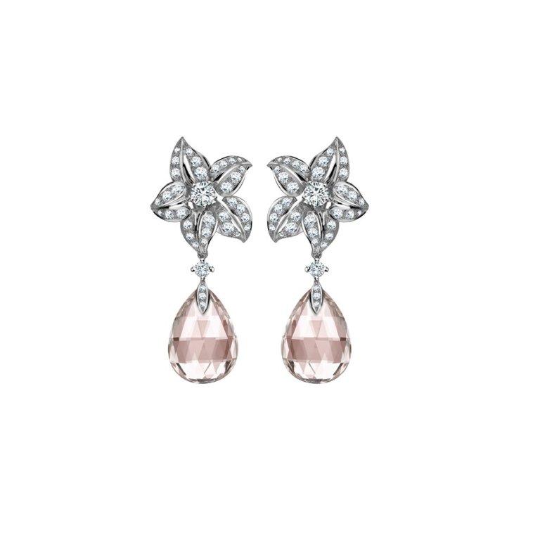 William and Son Earring Bar Morganite & Diamond Earrings