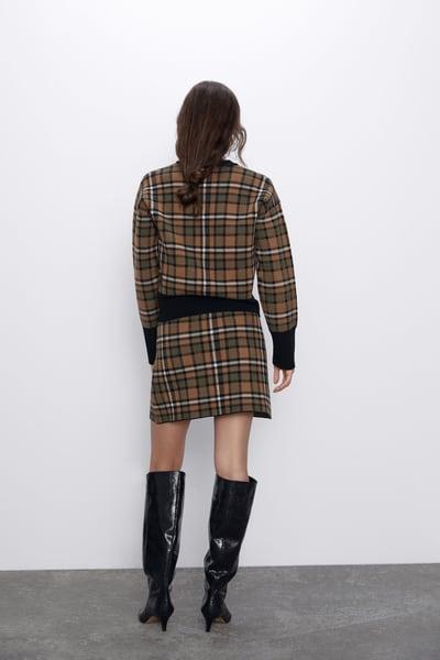 Zara Check Knit Skirt back view