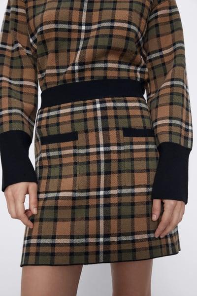Zara Check Knit Skirt