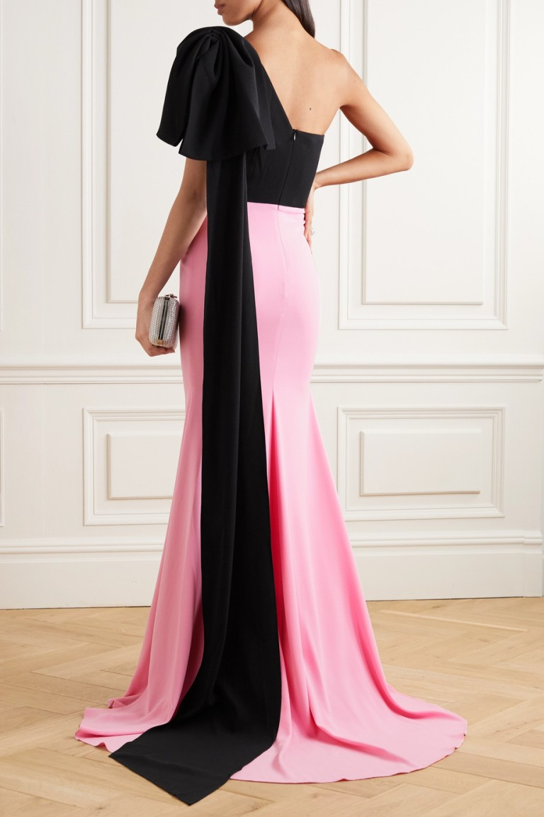 Alex Perry Anderson One-shoulder Bow-detailed Two-tone Crepe Gown back view