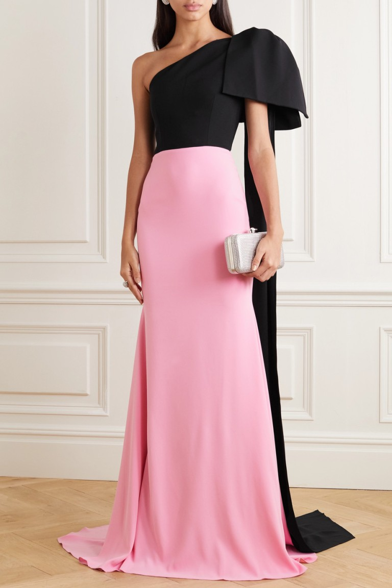 Alex Perry Anderson One-shoulder Bow-detailed Two-tone Crepe Gown
