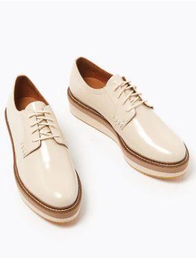 Autograph Leather Flatform Lace Up Brogue Shoes