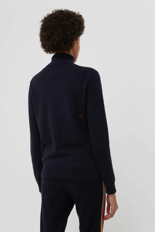 Chinti and Parker Navy Cashmere Roll Neck Ski Sweater back view