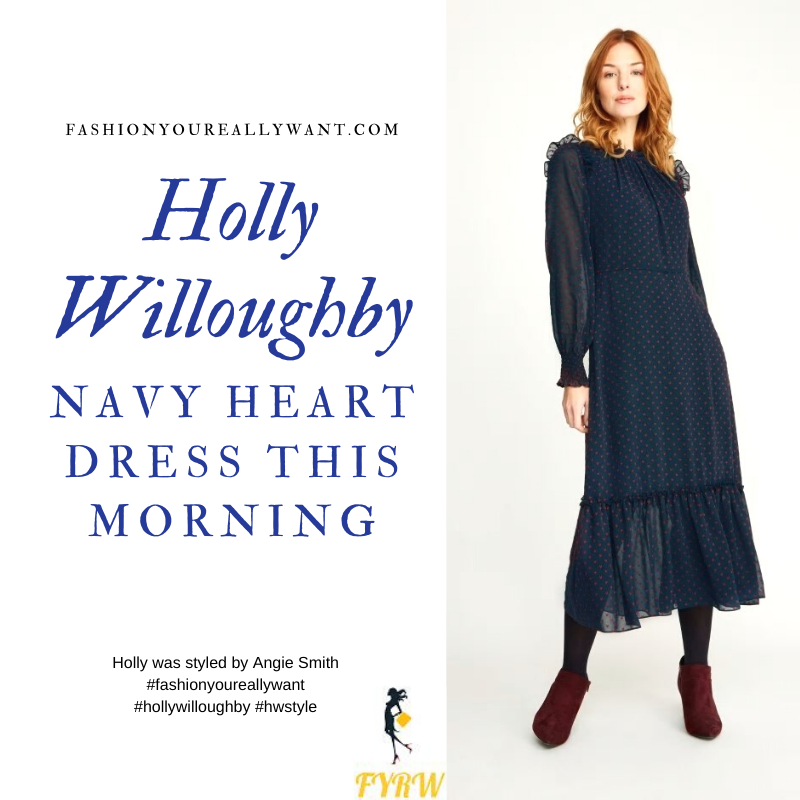 Where to get all Holly Willoughby This Morning dresses navy chiffon dress with red hearts February 2020