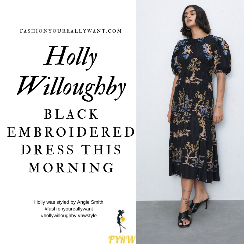 Where to get all Holly Willoughby This Morning outfits blog February 2020 black puff sleeve embroidered dress