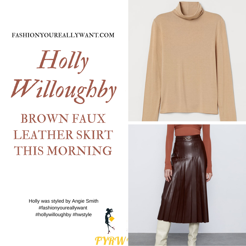 Where to get all Holly Willoughby This Morning outfits February 2020 blog brown pleated faux leather skirt with chain trim beige jumper