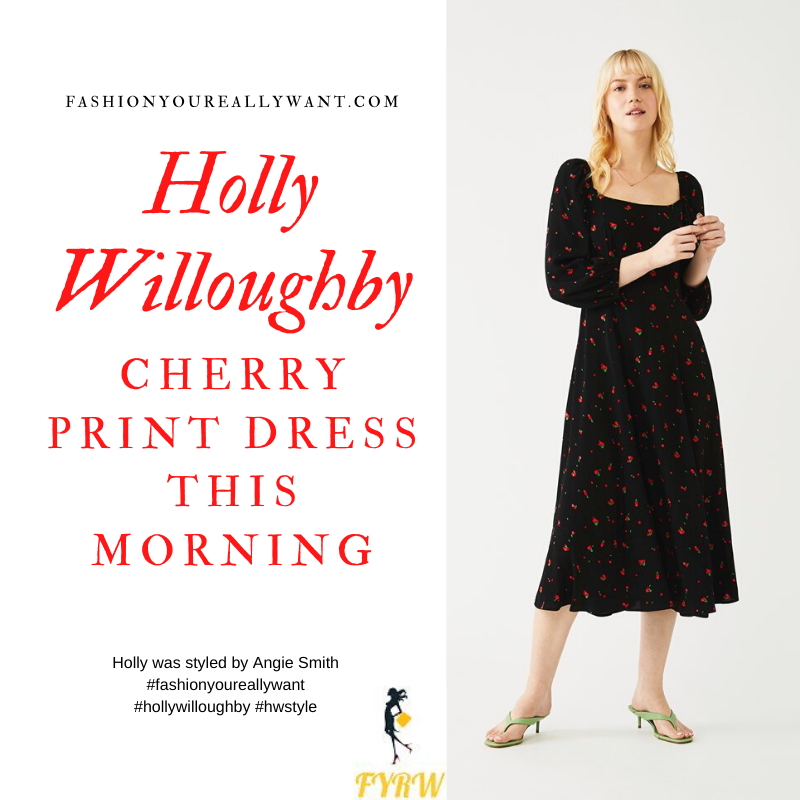 Where to get all Holly Willoughby This Morning outfits blog February 2020 black cherry print midi dress square neck puff sleeves