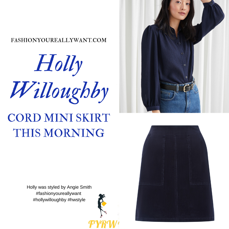 Where to get all Holly Willoughby outfits blog January 2020 blue corduroy mini skirt blue blouse cream ankle boots