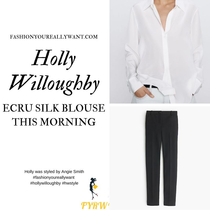 Where to get all Holly Willoughby This Morning outfits blog February 2020 cream silk blouse shirt black cropped trousers