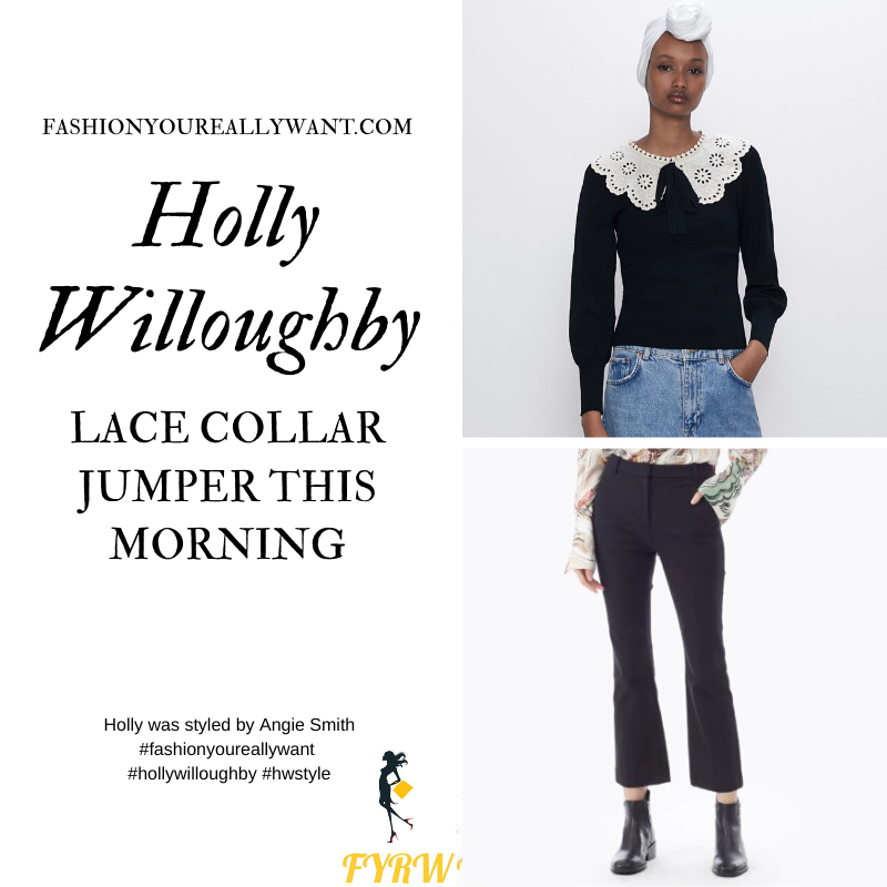 Where to get all Holly Willoughby This Morning outfits blog February 2020 black sweater with cream lace collar black cropped flared trousers