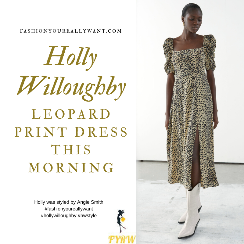 Where to get all Holly Willoughby This Morning outfits blog February 2020 square neck puff sleeve leopard print midi dress with split