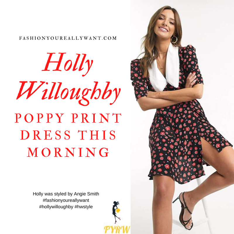 Where to get all Holly Willoughby This Morning outfits blog February 2020 black mini dress with red poppies white collar black suede court shoes