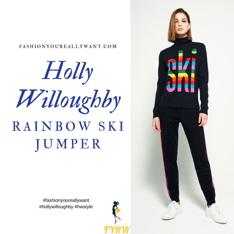 Where to get Holly Willoughby Rainbow Ski Jumper blog March 2020