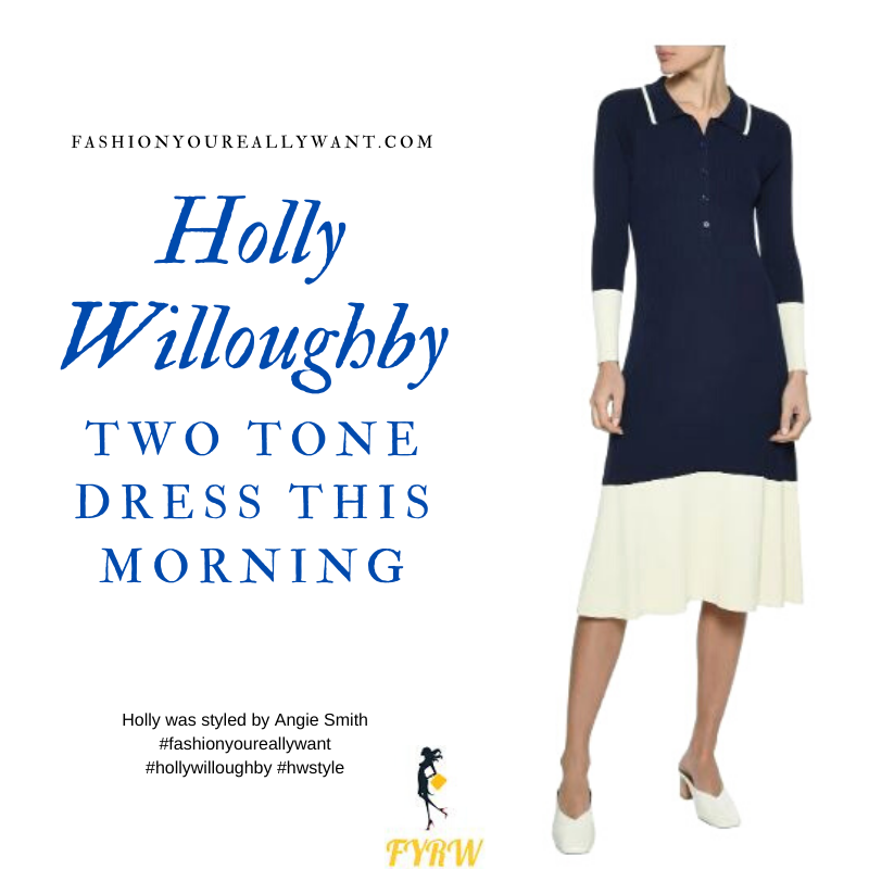 Where to get all Holly Willoughby Wore This Morning outfits blog February 2020 two tone colour block navy cream knit dress