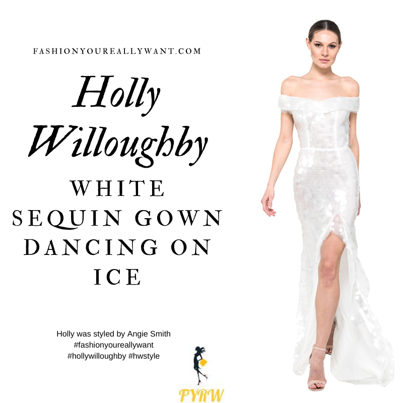 Where to get all Holly Willoughby Dancing on Ice dresses February 2020 blog white off the shoulder Bardot sequin gown white sandals feather ear climber earrings