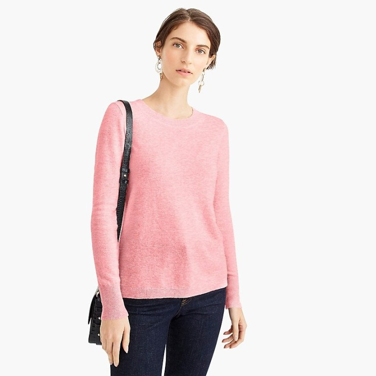 J Crew Long Sleeve Everyday Crewneck Sweater pink grapefruit