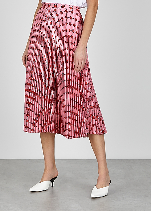 Markus Lupfer Hailey Lip-print Pleated Midi Skirt v2