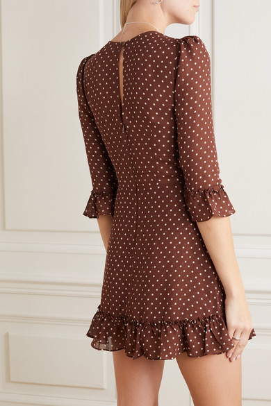 Reformation Doutzen ruffled polka-dot voile mini dress back view