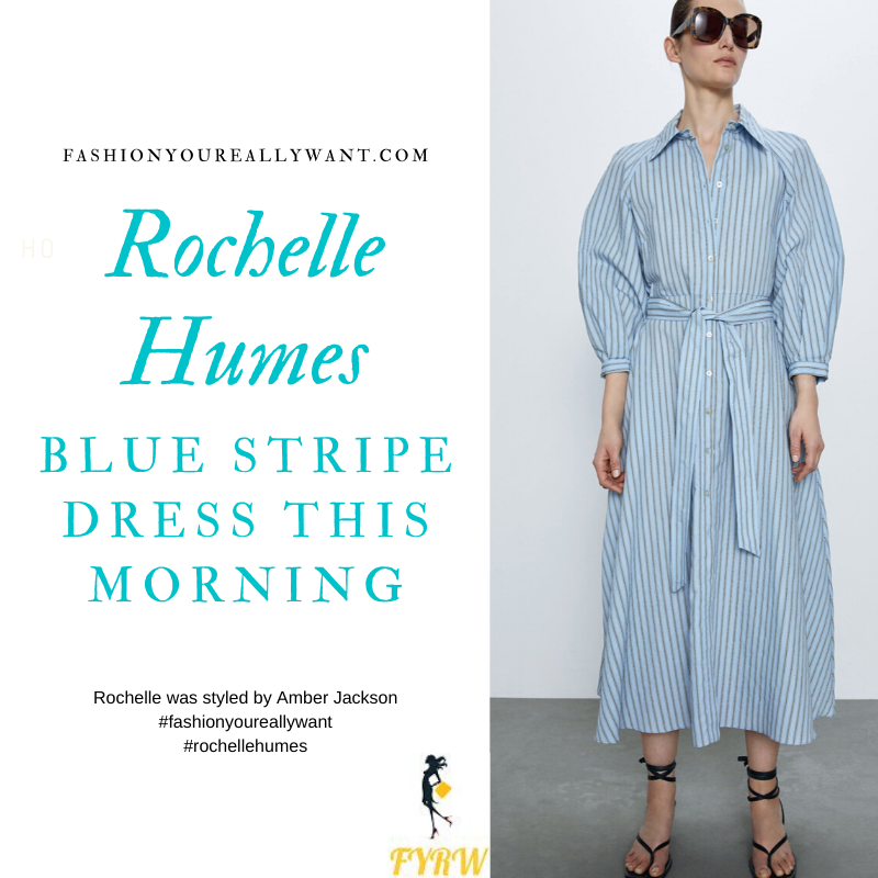 Where to get Rochelle Humes outfits This Morning February 2020 blue striped puff sleeve shirt dress