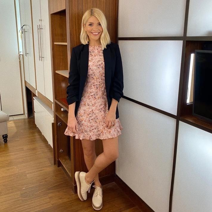 where to get all Holly Willoughby dresses pink animal print dress black blazer cream lace up shoes 14 February 2020 Photo holly willoughby